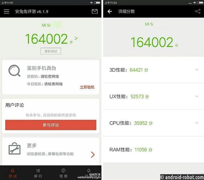 Xiaomi Mi5s набрал наAnTuTu 164 002 балла
