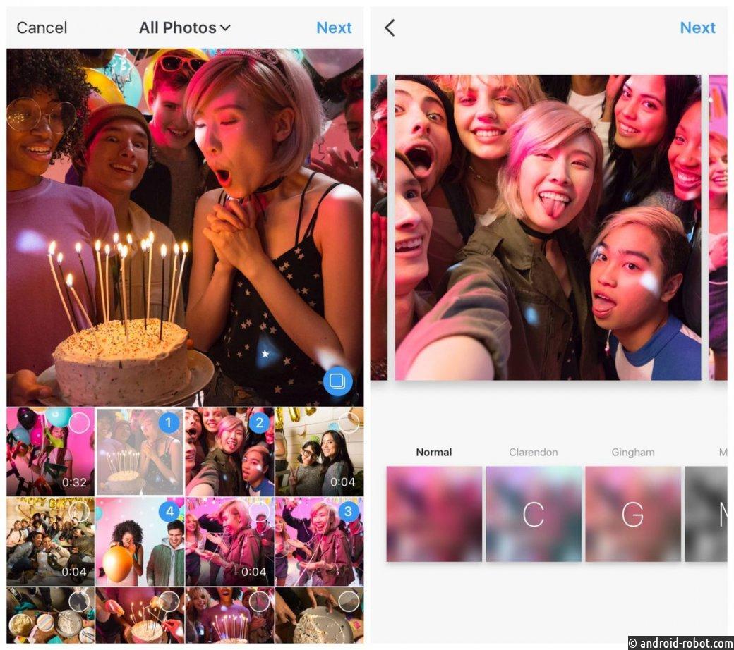 В Instagram появилась функция публикации 10 фото водном посте