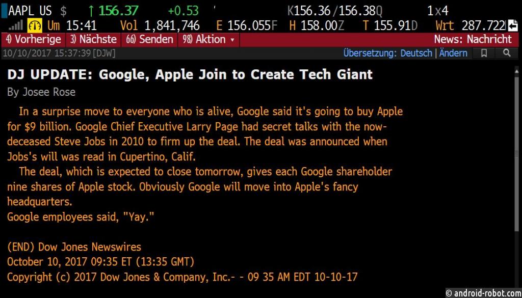 Dow Jones поошибке объявил о закупке Google компании Apple