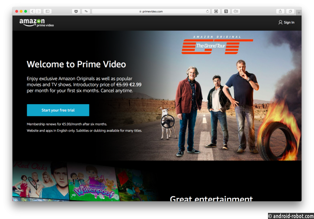 Стриминговый сервис Amazon Prime запустился в Российской Федерации