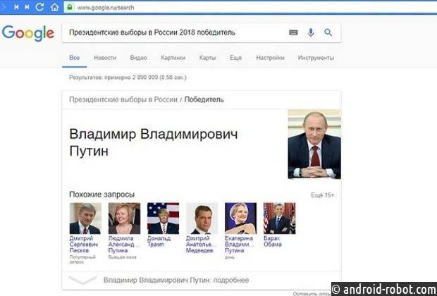 ВGoogle поведали, почему поисковик объявил Владимира Путина победителем выборов