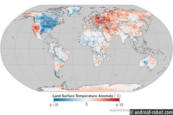 Украина оказалась взоне аномально теплой зимы накарте NASA