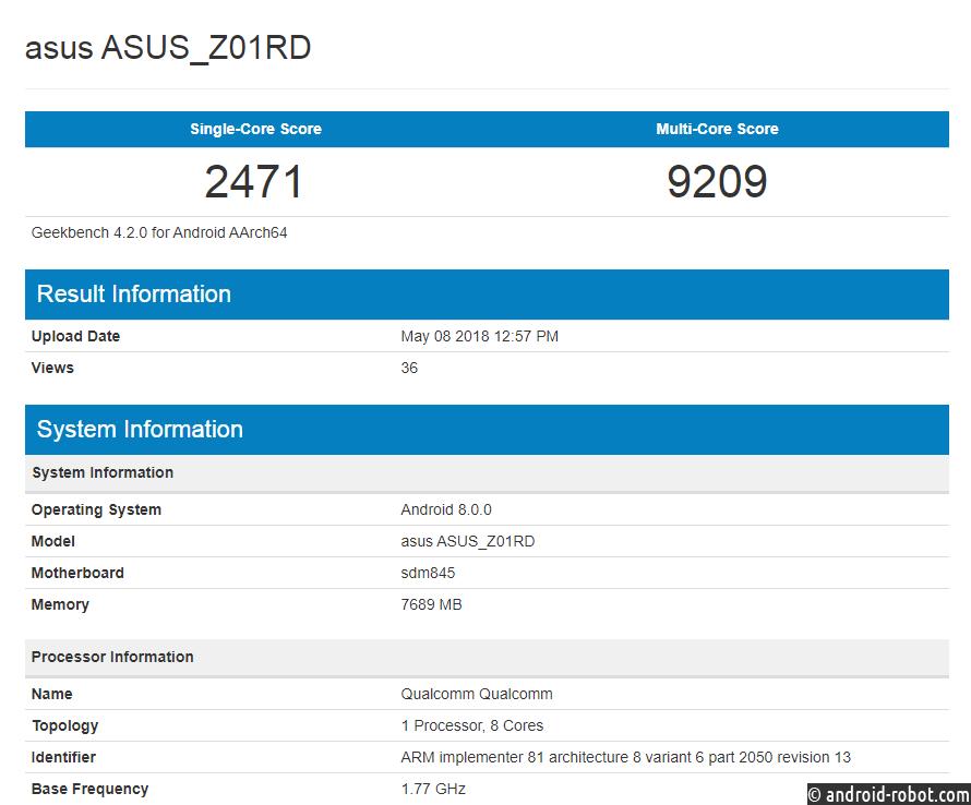 Asus Zenfone 5z протестировали вбенчмарке GeekBench