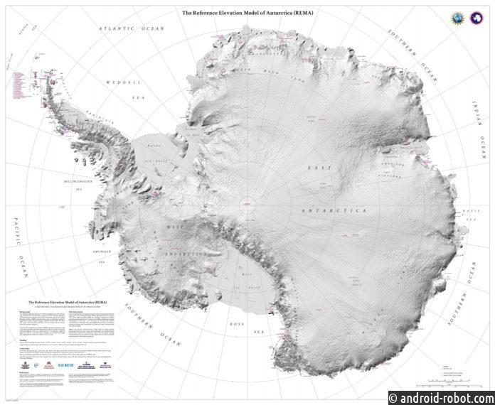 Новая карта местности Антарктиды в деталях изображает континент