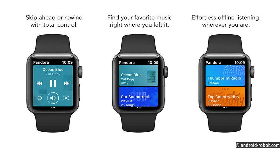 Обновление Pandora для iOS добавляет автономное воспроизведение в Apple Watch