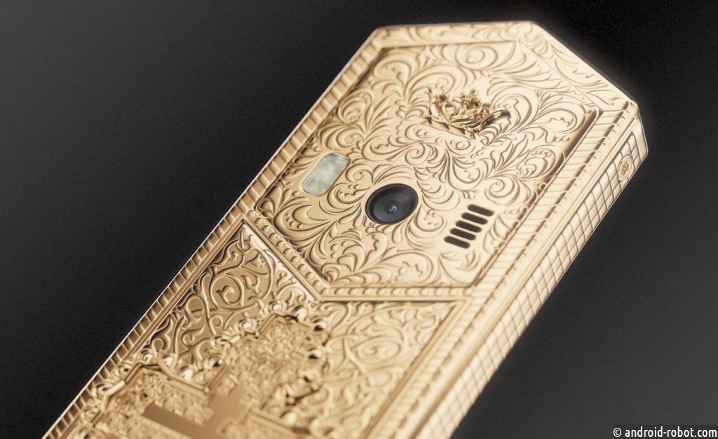 В России создан Tsar-телефон «Владимир Золотой» с золотым православным крестом