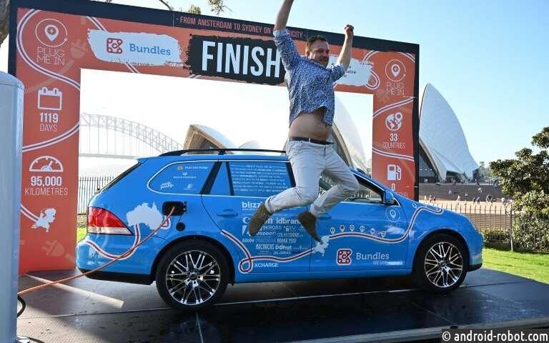 Голландец завершает «самое длинное в мире путешествие на электромобиле» в Австралии