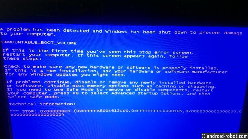 Windows 7 компьютер не загружается
