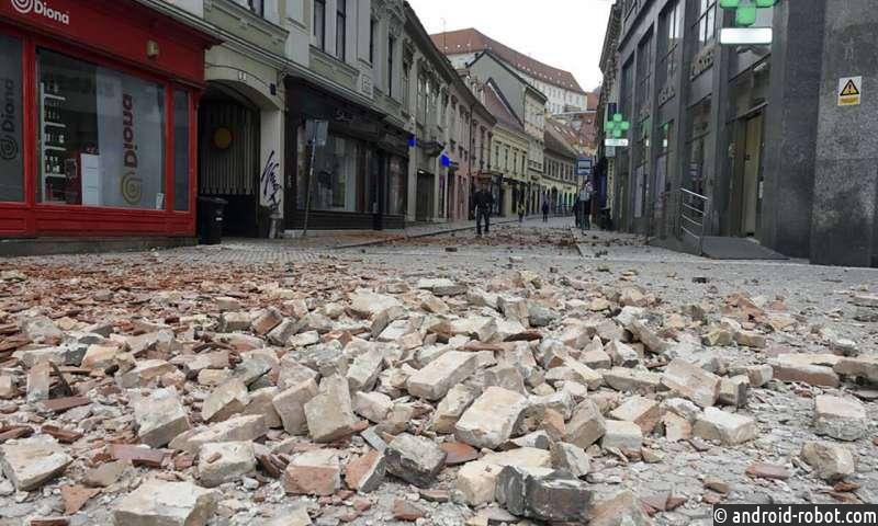 Сильное землетрясение сотрясает Хорватию, разрушая здания в столице
