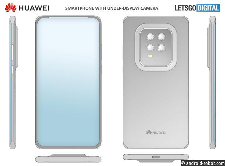 Huawei патентует смартфон с камерой под экраном