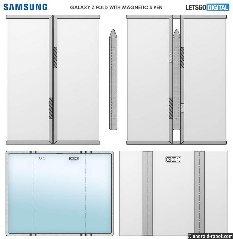 Samsung патентует складной смартфон с двойным шарниром и тремя частями дисплея